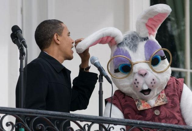 Obama pretending to talk into the Easter Bunny's ear when his microphone failed