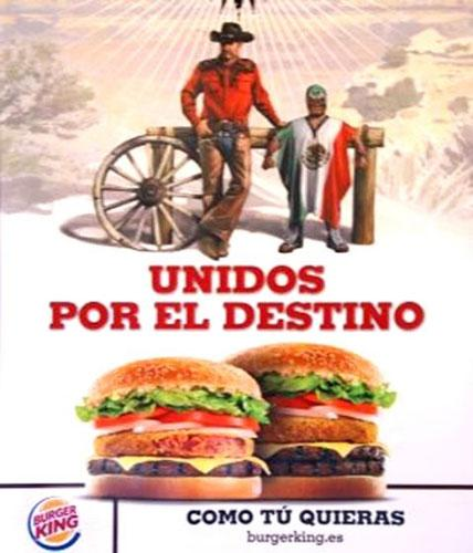 The advert shows a Mexican wrestler with the slogan 'united by destiny'