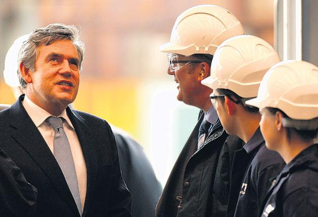 Gordon Brown takes a tour of the BVT shipyard in Govan, Glasgow, yesterday. The Prime Minister has said he takes 'full responsibility' for the email smear plot