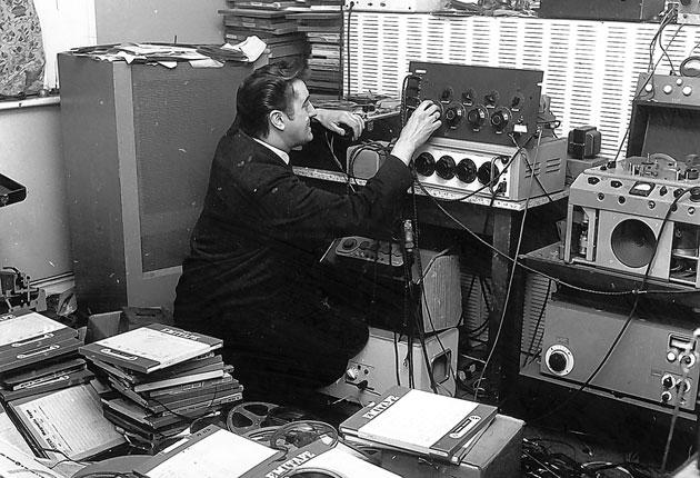 Joe Meek, producer of 'Telstar', in 1963 at work in his bedroom; and a scene from the film