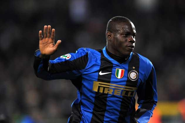 Inter Milan's forward Mario Balotelli celebrates after scoring a goal against Juventus during their Italian Serie A football match