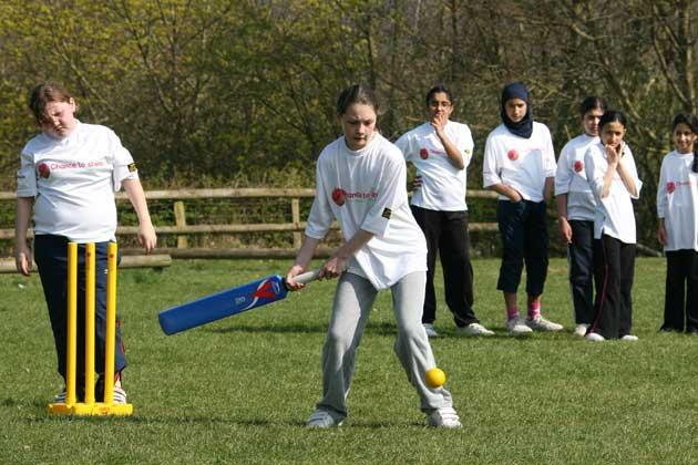 Getting a chance to shine: the girls at King's Wood primary school in High Wycombe have been inspired by England cricketer Rosalie Birch