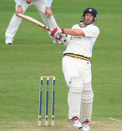 Michael Di Venuto on his way to making 143 against Yorkshire at the Riverside as Durham set the visitors a target of 394 to win