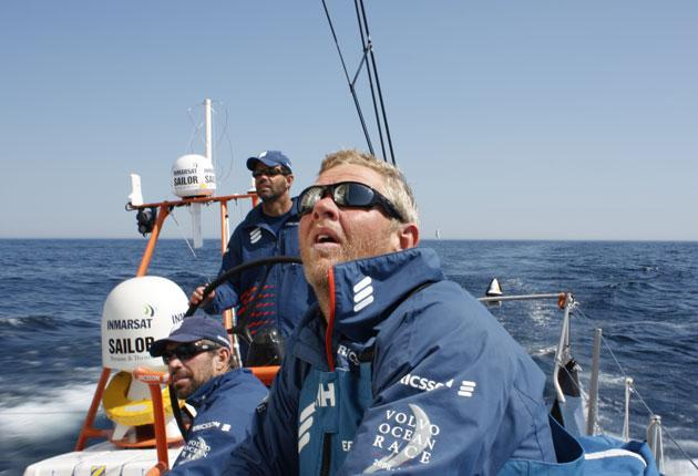 Tony Mutter looks to the heavens for inspiration in the final miles of the sixth leg of the Volvo round the world race from Rio to Boston as Ericsson 4 skipper Torben Grael drives