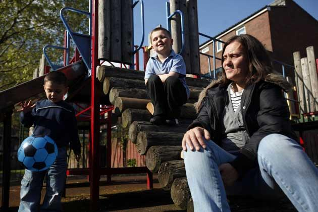 Tina Baillie and her children from the Andover estate