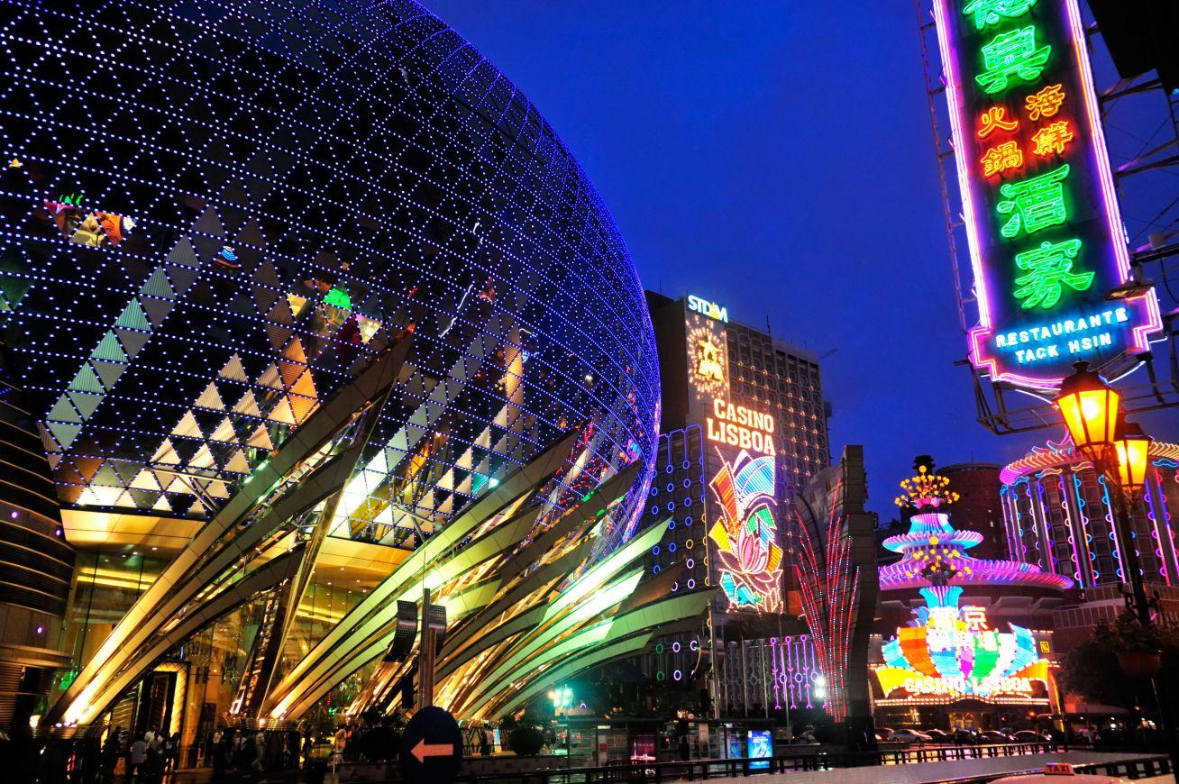 Bright lights big city: neon-lit hotels and casinos line the streets of the peninsula
