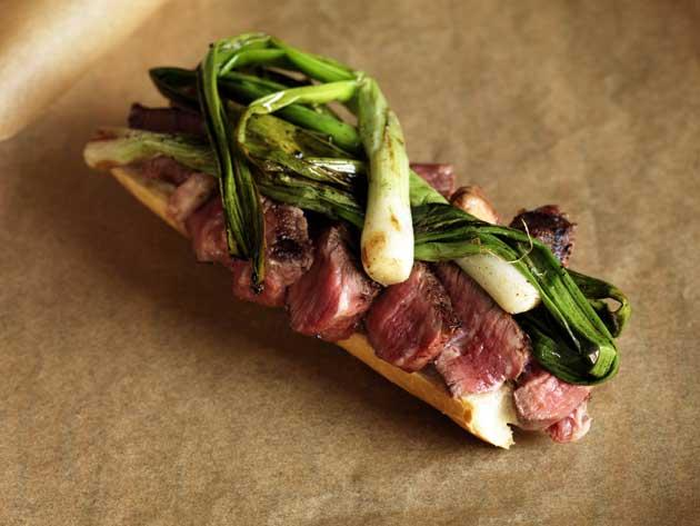 Szechuan peppered beef flank and green onions