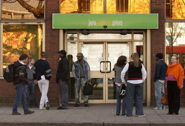 Some of the country's two million unemployed outside a London Jobcentre plus branch