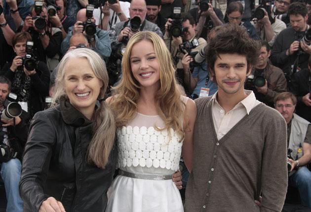 Jane Campion with actors Abbie Cornish and Ben Whishaw at Cannes yesterday