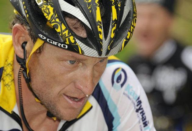 Lance Armstrong finished less than a minute behind the winner, Danilo Di Luca, yesterday in the tenth stage of the Giro d'Italia from Cuneo to Pinerolo