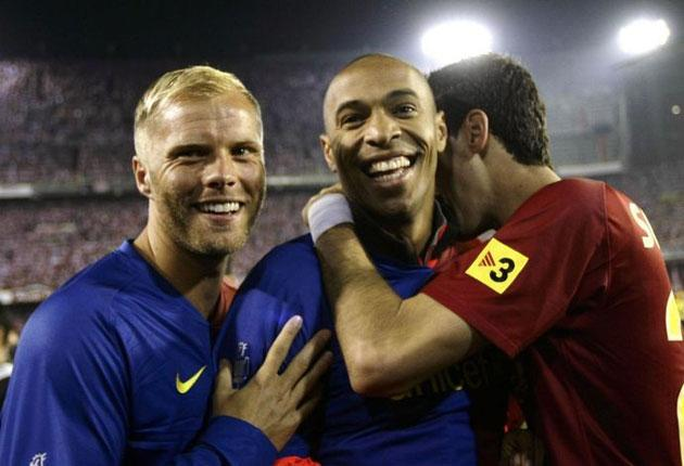 Thierry Henry (centre) is 'optimistic' that he will be fit to face Manchester United in Rome next week