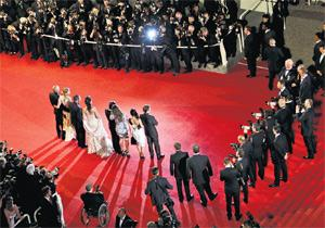 The cast of the bold Antichrist at Cannes. The movie was hissed at a screening for critics.