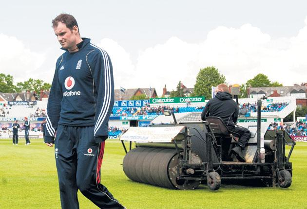 Andrew Strauss at a wet Headingley yesterday
