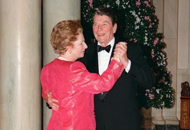 Margaret Thatcher dances with Ronald Reagan at the White House