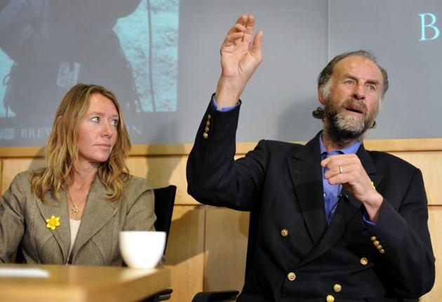 Lady Louise Fiennes listens yesterday to her husband Sir Ranulph recount his successful third attempt to climb Everest