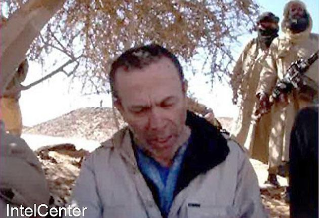 This picture of British hostage Edwin Dyer was released by al-Qa'ida in the Islamic Maghreb on 18 February and distributed by IntelCenter
