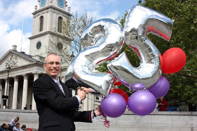 Party time: Chris Martin was the school's 20,000th MBA graduate in the year of its 25th anniversary