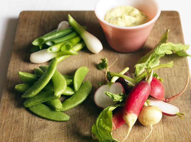 Pea shoot, radish and spring onion salad with herb mayonnaise