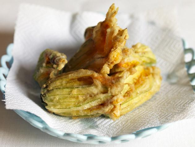 Fried courgette flowers can be served as a starter or appetiser