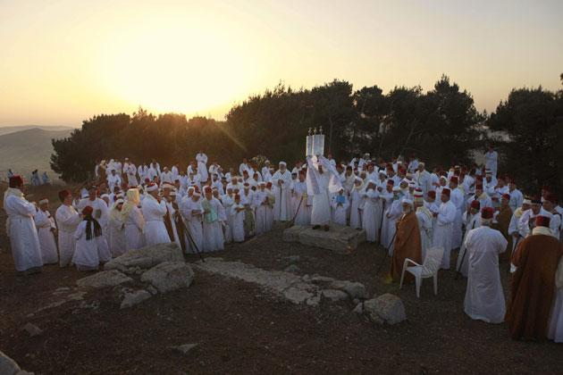 Samaritans celebrating Shavuot last Sunday at their holiest site, on top of Mount Gerizim