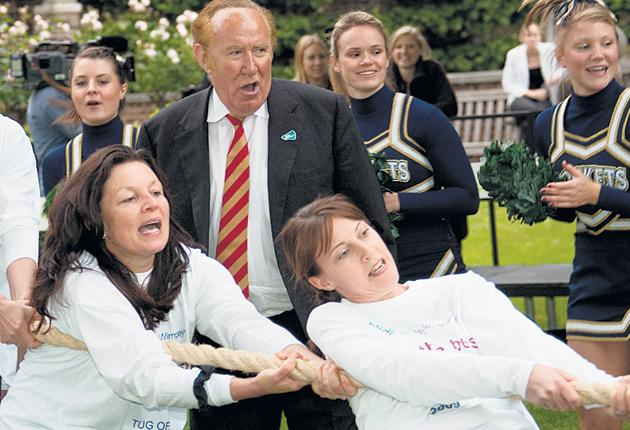 Old rope: Andrew Neil supports the women's team