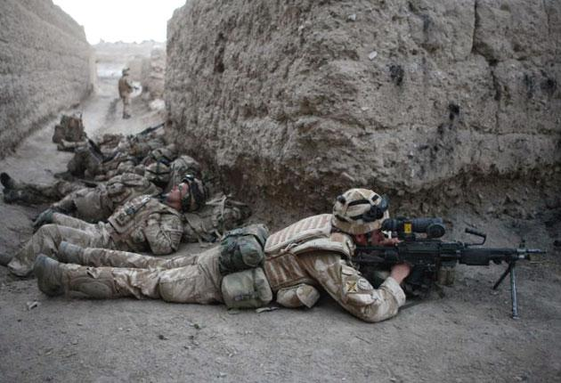 Troops of 3rd Battalion, The Royal Regiment of Scotland and soldiers from the Afghan National Army in the Upper Sangin Valley, Helmand province