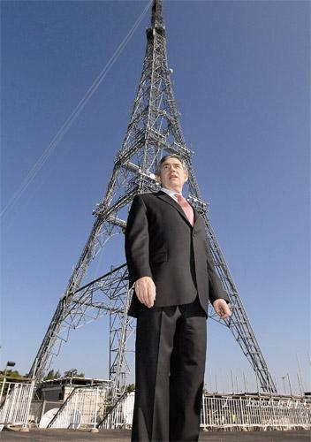 Gordon Brown at the Arqiva broadcast transmitting station in London yesterday which is home to one of Britain's 50 high power transmitters