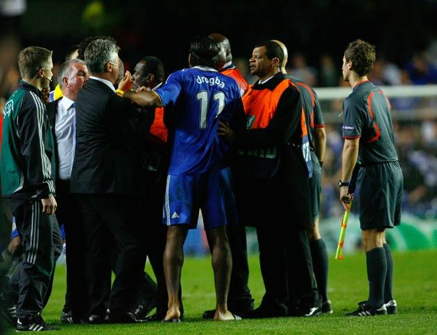 Drogba harassed the referee after the match