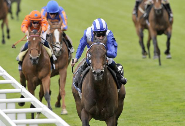 Richard Hill on Ghanaati leaves the field well behind to win the Coronation Stakes at Royal Ascot yesterday