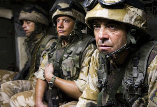Occupiers: Warren Brown as Hibbs (centre) and James Nesbitt as Mike (right) are friends whose lives are changed by serving in Iraq