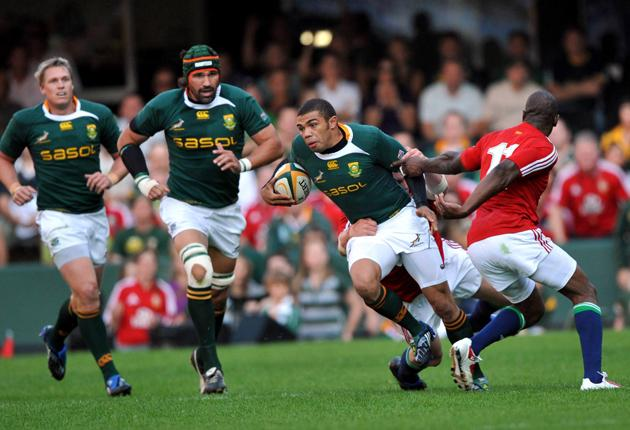 Bryan Habana of South Africa in action during the First Test match between the South African Springboks and the British and Irish Lions
