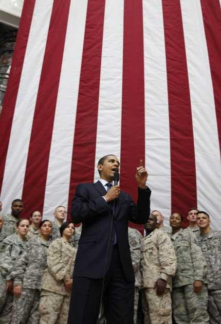 Exit strategy: President Obama speaks to the dwindling numbers of troops during a recent visit to Baghdad