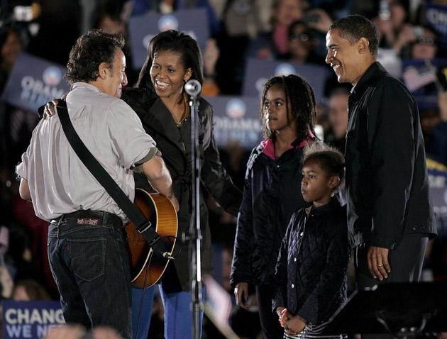 Show them who's boss: Bruce Springsteen with the Obama family