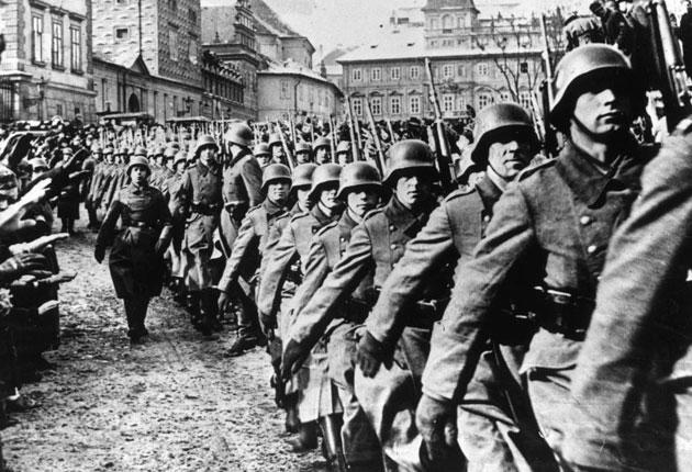 German troops march into Prague in 1939. British scientists were looking into using poisoned darts to kill Nazi troops during the Second World War