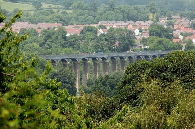 A narrow boat navigates the Pontcysyllte Aqueduct which has been nominated as a World Heritage Site on June 25, 2009 in Pontcysyllte
