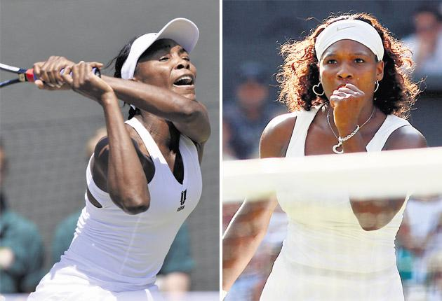 Venus Williams during her 6-1, 6-2 victory over Agnieszka Radwanska and Serena celebrates a similarly easy victory over Victoria Azarenka, 6-2 6-3