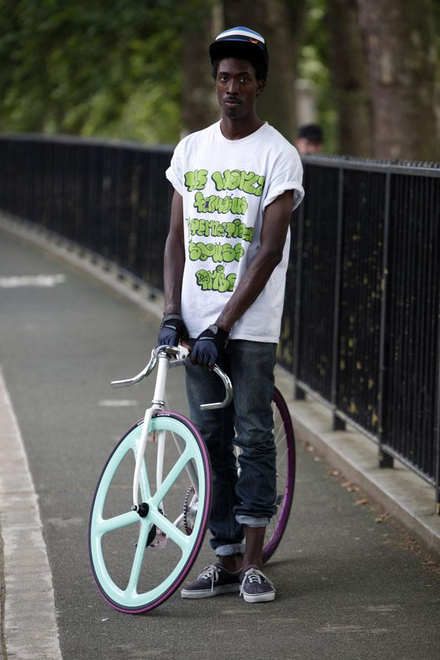 Musician Rafael Powell with his custom made bike