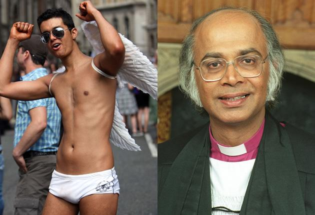 A partygoer at the annual Gay Pride street march through London (left) and Michael Nazir-Ali, the Bishop of Rochester