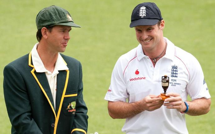 Australia's Ricky Ponting and England's Andrew Strauss pose with the Ashes urn in Cardiff yesterday