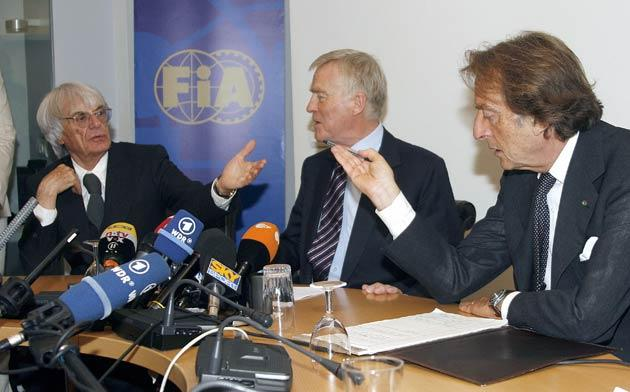 FIA president Max Mosley (centre), Ferrari president Luca Cordero di Montezemolo (right) and Formula One supremo Bernie Ecclestone pictured at a meeting last month