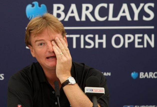 Ernie Els faces the press at Loch Lomond yesterday. 'This hasn't been a great season,' he admitted