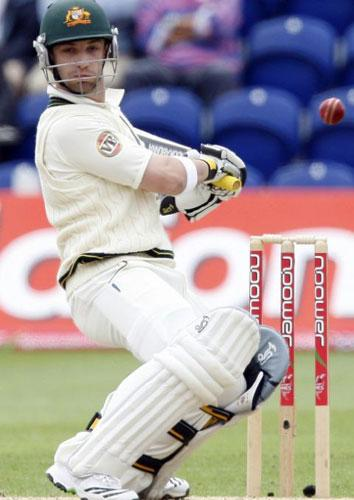 Phillip Hughes dealt well with Andrew Flintoff's bouncers yesterday