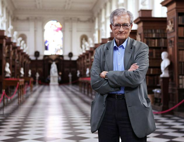 A very practical philosopher: Amartya Sen in the library of Trinity College, Cambridge, where he was master until 2004