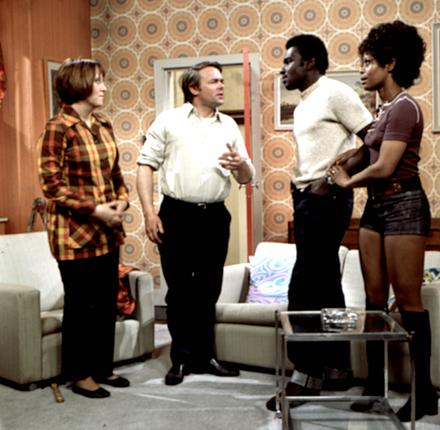 The 'Love Thy Neighbour' cast: from left, Kate Williams, Jack Smethurst, Rudolph Walker and Nina Baden-Semper