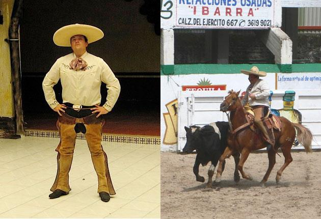 DomJoly dons the Mexican rodeo rider's costume but missed the tail of a cow and grabbed something else instead