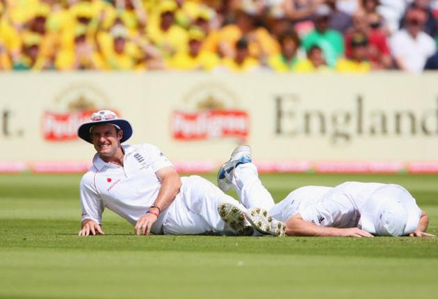 The England captain, Andrew Strauss, was full of praise for Andrew Flintoff. 'Sometimes he doesn't get his just rewards for his hostility,' he said
