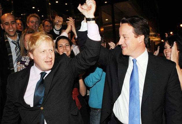 Conservative leader David Cameron with Boris Johnson after he became Mayor on May 3 2008