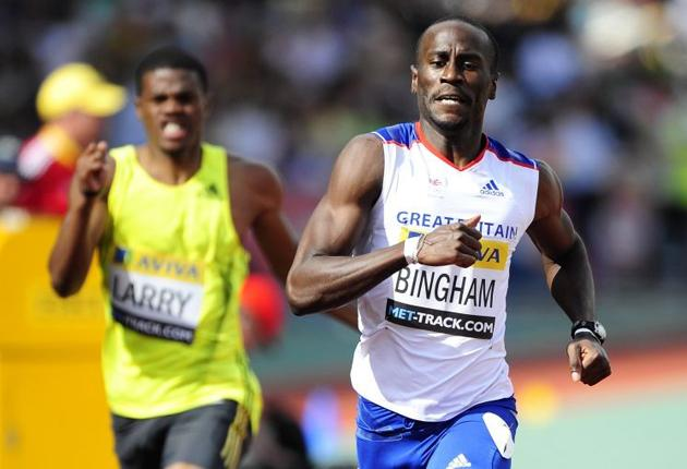 Michael Bingham records a new personal best as he wins the 400m at the London Grand Prix at Crystal Palace
