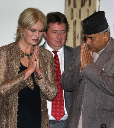 Joanna Lumley exchanges greetings with the Nepalese President Ram Baran Yadav in Kathmandu yesterday