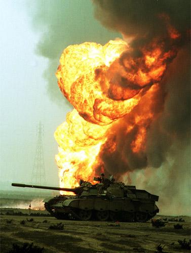 An oil field in Kuwait burns at the end of Operation Desert Storm in 1991